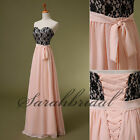 Blush Long Chiffon Bridsmaid Evening Dresses Black Lace Prom Party Gowns Dress