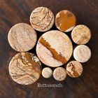"""Pair of Picture Jasper Stone Plugs Double Flared - ear lobe - 2g to 1"""" -10 sizes"""