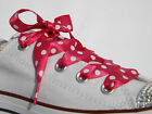 Shocking Pink Polka Dot Ribbon Shoelaces with LOGO Aglets for Converse Trainer