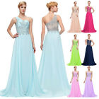 One Shoulder Long Chiffon Wedding Ball Gown Evening Prom Party Bridesmaid Dress