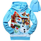 Kids Girls Boys Frozen Olaf Long Sleeve Hoody Hoodie Tops Coat Size:2-8 Years