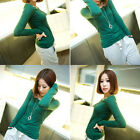 Round Crew Neck LONG SLEEVE Plain Stretch TEE T Shirt Slim Fit TOP Solid CH