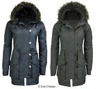 WOMENS MILITARY HOODED PADDED QUILTED LADIES PARKA JACKET COAT PLUS SIZE 8-24