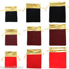 25Pcs Velvet Gold Trim Drawstring Jewelry Gift Bags Pouches HOT