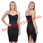 New Womens Black Hot Cami Midi With Black Lace Splicing Back Slit Bodycon Dress