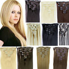 "Full Head 15"" 18"" 20"" 22"" 24"" Clip 100% Remy Real Human Straight Hair Extensions"