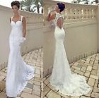 2015 New Sexy Mermaid lace Backless wedding dress Bridal Gown stock Size 6-18