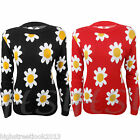 LADIES JUMPER KNITTED BLACK MINI DAISY FLOWER PRINT LONG SLEEVE SWEATER TOP 8-14