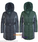 LADIES DETACHED FUR QUILTED PADDED LONG PARKA HOOD JACKET WOMEN BELTED COAT 8-16