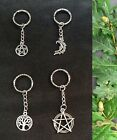 Wiccan Pagan Keyring Pentacle Pentagram Moon Lunar Tree of Life Magic Witch Gift