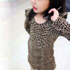 long Sleeves Party Dress Top Cool Design Girl Print Leopard Round Collar Skirt