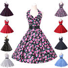UK New Ladies Vtg 1950s style Polka Dot/Floral Rockabilly Cotton Swing Tea Dress