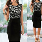 ladies Floral Lace Fashion OL Skirts Tunic Bodycon Cocktail Pencil Shift Dress