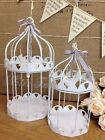 White Metal Bird Cage Heart Dove Candle Holder Vintage Chic Wedding Decoration