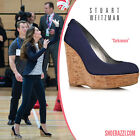 Stuart Weitzman Corkswoon Navy Suede Studded Wedges New BNIB UK 7 40