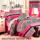 Pink Black ZEBRA Stripe Teen Girls Chic Bedding Comforter...