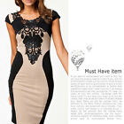Womens Dresses Party Dresses Short Sleeve Round Collar Lace Tight Long Dresses