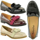 LADIES WOMENS BOW LOAFERS SCHOOL WORK OFFICE SHOES FLAT DOLLY BALLET PUMPS SIZE