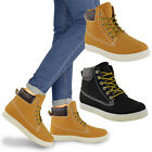 LADIES WOMENS HI TOP TRAINERS LACE UP ARMY WORKER ANKLE BOOTS PUMPS SHOES SIZE