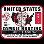 United States Zombie Hunting Permit T-Shirt or Tank Top All Sizes