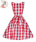 Lindy Bop 50's Audrey Red Check Dress White