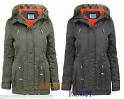 LADIES WOMENS FAUX FUR HOOD QUILTED PADDED WARM WINTER PARKA MILTARY JACKET COAT