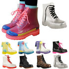 Boots Ladies Flat Clear Festival Jelly Wellies Low Ankle Rain Shoes Size