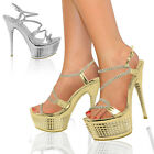 Ladies Womens Platforms Strappy Party Prom Bridal High Heels Sandals Shoes Size