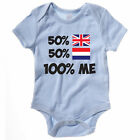 50% BRITISH 50% DUTCH 100% ME - UK / Holland / Europe / Novelty Themed Baby Grow