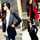 Fashion Women Long PU Leather Sleeve Slim Jacket Coat Parka#B Trench Windbreaker