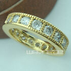 18k gold GF Engagement wedding With Lad diamand ladies solid rings R158 Size M-Q