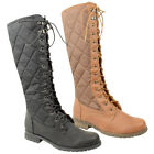 Women Knee High Quilted Riding Lace Up Military Flat Boots Shoe Size