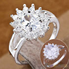 Fashion Womens Zircon Crystal Sun Flower Silver Plated Ring Band Engagement Ring