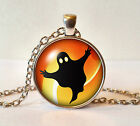 Silver Plated Finish Halloween Pendant Necklace + Box - Many Designs