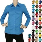IRON PUPPY L/SLV Button Down Solid Collar Work Office Shirts Skinny Top S 3XL
