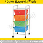 Movable File Tray Storage 4 Drawer Plastic Cabinet Metal Trolley Shelf Cabinet
