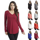 IRON PUPPY Women's L/Slv Solid V-Neck MODAL Tunic Soft Casual T-Shirts Top-USA