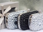 Gift Boxed Ivory Black Silver Crystal Diamante Jewel Clutch Purse Bag 210