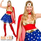 Super Hero Ladies Fancy Dress Womens Comic Book Adults Costume Outfit + Cape New