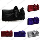 SATIN BOW DIAMANTE CRYSTAL EVENING WEDDING PARTY BRIDAL PROM CLUTCH BAG