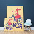 Yellow Favor Scooter Wall Art Print | Stretched Canvas  Vintage Print