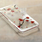 YHS Natural Red Real Plum Pressed Flower Hand Craft Bling Hard Skin Case Cover
