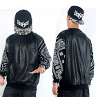 Mens Long Sleeve T Shirt PU Faux Leather Hip Hop Bandana Paisley Black #T10