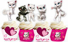 Kitten Cat Party 15 EDIBLE Vanilla wafer Cupcake Cake Toppers PRECUT Cup Cake