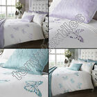 EMBROIDERED BUTTERFLY DIAMANTE SEQUINS QUILT DUVET COVER BEDDING SET TEAL LILAC