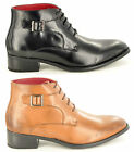 New Mens Leather Lined Smart Lace Up Ankle Chukka Boots Buckled in UK Sizes 6-12