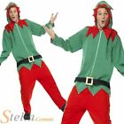 Mens Elf Onesie Jumpsuit Santa Helper Christmas Fancy Dress Costume Adult Outfit
