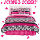 JUNGLE Chic Teen Girls PiNK BLACK WHITE ZEBRA Stripe COMFORTER Bed~In~A~Bag Set <br/> COMFORTER~SHAM(S)~SHEETS IN QUEEN, FULL, &amp; TWIN SIZES