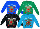 Boys & Girls Bright Rudolph Red Nose Reindeer Knit Christmas Jumper 3-13 Yrs NEW