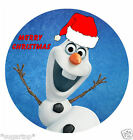 "MERRY CHRISTMAS FROZEN OLAF 24 x 2"" or Large 7.5"" Edible Cake Topper Rice Paper"